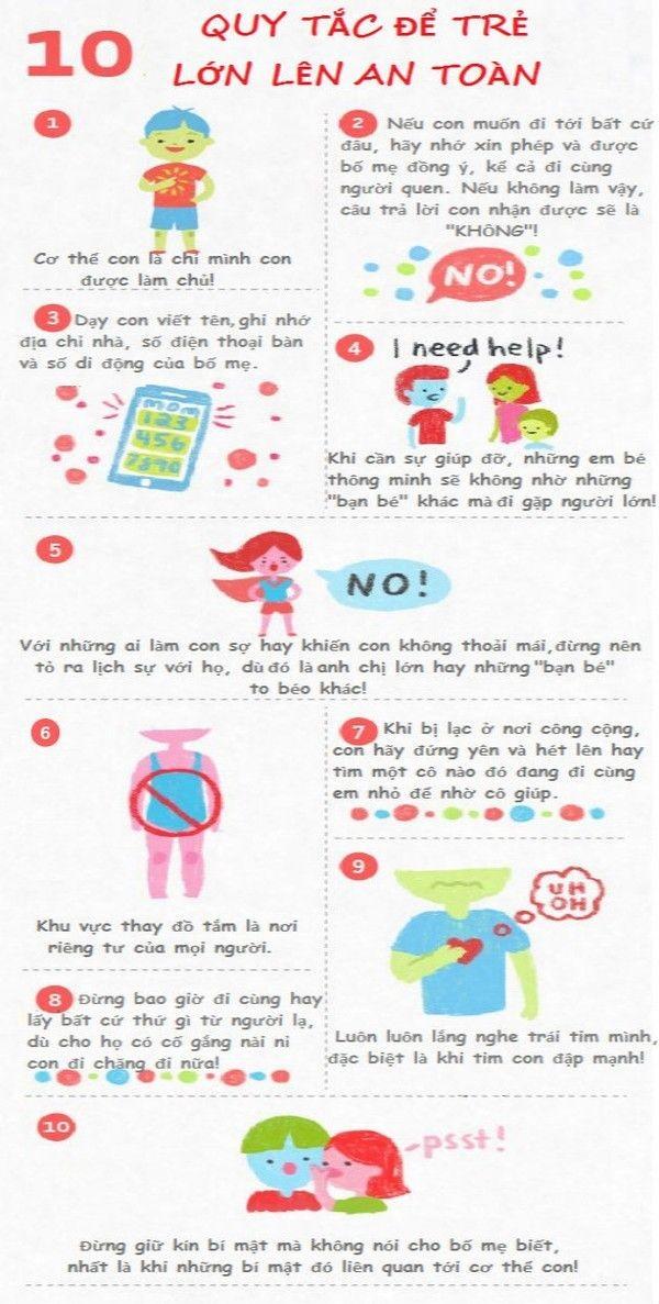 10 quy tắc đối với con trẻ để trẻ lớn lên an toàn